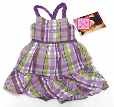 Young Hearts Baby Girls Purple and Green Plaid Dress and Bloomers 2-Piece Set