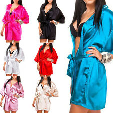 Ladies Dressing Gown House Coat Nightwear Kimono silk robe Satin look in S-XL