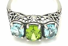 Blue Topaz Ring with Peridot 925 Silver ANTIQUE STYLE Sterling silver