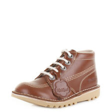 Kickers Junior Kick Hi Core Leather Lace Up Dark Tan Ankle Boots Size