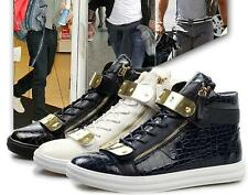 New Stylish Mens Gold Metal Plate  Zipper Sneakers Shiny Trainers Ankle Boots