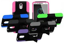 For Motorola Droid Turbo 2 Duo Layer Stand Hybrid Hard Shell Cover Case