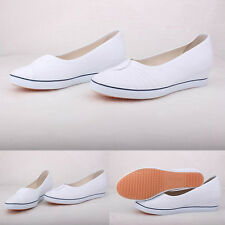 Womens Canvas Ballet Flats Slip On Casual Shoes Plain Ladies Work Slippers
