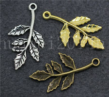 10/50/260pcs Antique Silver Beautiful Foliage Jewelry Charm Pendant DIY 30x16mm