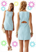 $168 Lilly Pulitzer Whiting Shorely Blue Ottoman Stripe Cut Out Back Shift Dress