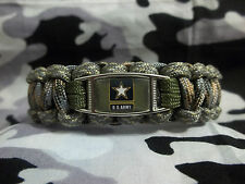 UNITED STATES ARMY Custom 550 Paracord SURVIVAL Bracelet w/ Buckle ARMY STRONG