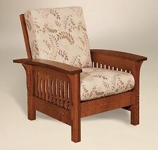 Amish Handcrafted Mission Craftsman Accent Chair Empire Upholstered Solid Wood