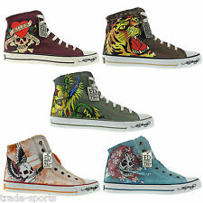 Ed Hardy Unisex Shoes Mens Womens Hi Top Trainers Size 7 8 9 10 11 12