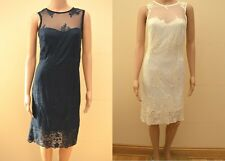 Next Ivory Cream or Navy Mesh Embroidered Dress Sz 16 Tall 8 10 12 14 18 petite