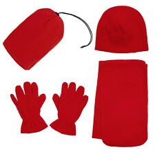 Winter Set Unisex Fashion Warm Fleece Scarf Beanie Hat Gloves 3 Pcs Ski Set