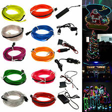 Neon LED Light Glow EL Wire String Strip Rope Tube + Controller For Christmas