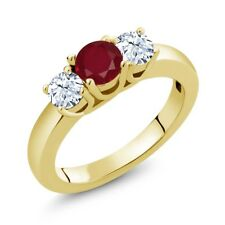 1.21 Ct Round Red Ruby White Topaz 18K Yellow Gold Plated Silver Ring