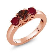 1.15 Ct Round Red Garnet Red Ruby 18K Rose Gold Plated Silver Ring