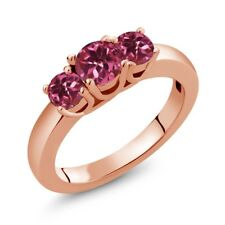 0.98 Ct Round Pink Tourmaline 18K Rose Gold Plated Silver Ring