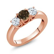 1.12 Ct Round Brown Smoky Quartz White Topaz 14K Rose Gold Ring