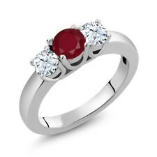 1.21 Ct Round Red Ruby White Topaz 925 Sterling Silver Ring