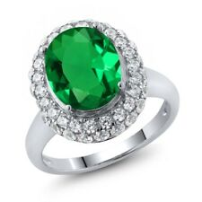 4.21 Ct Oval Green Simulated Emerald 925 Sterling Silver Ring