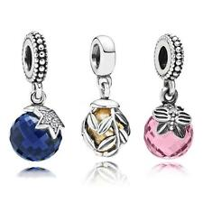 Solid 925 Sterling Silver Crystal Pendant Charms fit European Beads bracelet