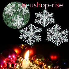 30pcs Christmas Party White Snowflake Charms Festival Ornaments Decor Decoration