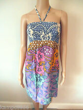 New Monsoon Cotton Blue Pink Yellow Sequin Floral Halter Dress Sz Small UK 8-12