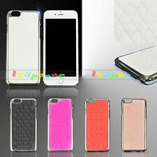 QUILTED CHECKER PU LEATHER CHROME HARD BACK CASE COVER FOR IPHONE 6 4.7""