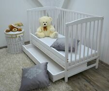 NEW White Wood Baby Cot Bed Mattress Converts to Junior Toddler Drawer Walnut