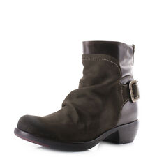 Womens Fly London Mel Oil Suede Sludge Dark Brown Leather Ankle Boots Uk Size