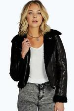 Boohoo Womens Molly Bonded Borg Suedette Biker Jacket