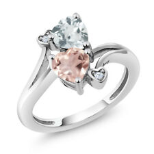 1.40 Ct Heart Shape Rose Rose Quartz Sky Blue Aquamarine 925 Silver Ring