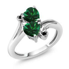 1.39 Ct Heart Shape Green Simulated Emerald 14K White Gold Ring