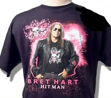 Kids Bret Hart T-Shirt; The Hitman WWE WWF Stampede WCW Pink Black Wrestling