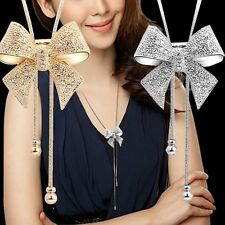 Elegant Statement Bib Butterfly Bowknot Crystal Long Chain Necklace Pendant