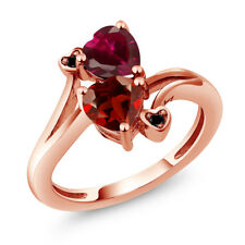 1.90 Ct Heart Shape Red Garnet Red Created Ruby 14K Rose Gold Ring