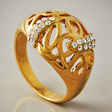 Mens Womens Clear Cubic Zirconia Rings Yellow Gold Filled size 8 9 free shipping