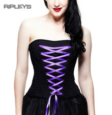 HELL BUNNY Gothic Fashion Corset Top SAM Lace Up Ribbon Purple All Sizes