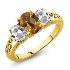 2.15 Ct Oval Checkerboard Champagne Quartz White Topaz 14K Yellow Gold Ring