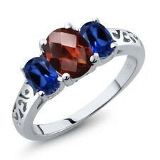 2.40 Ct Oval Checkerboard Red Garnet Blue Simulated Sapphire 925 Silver Ring