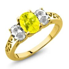 2.30 Ct Oval Canary Mystic Topaz White Topaz 18K Yellow Gold Plated Silver Ring