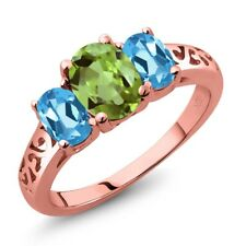 2.33 Ct Oval Green Peridot Swiss Blue Topaz 18K Rose Gold Plated Silver Ring