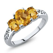 2.05 Ct Oval Checkerboard Yellow Citrine 14K White Gold Ring