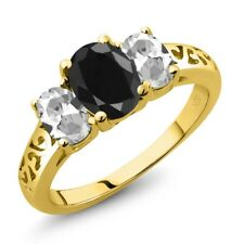 2.66 Ct Oval Black Sapphire White Topaz 18K Yellow Gold Plated Silver Ring
