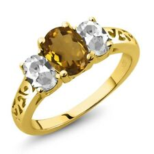 2.00 Ct Oval Whiskey Quartz White Topaz 14K Yellow Gold Ring