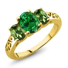 3.10 Ct Oval Green Simulated Emerald Green Tourmaline 18K Yellow Gold Ring