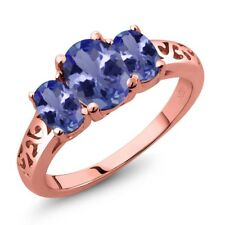 2.06 Ct Oval Blue Tanzanite 18K Rose Gold Plated Silver Ring