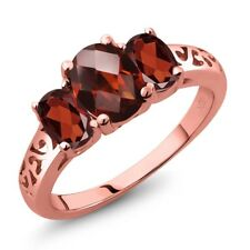 2.40 Ct Oval Checkerboard Red Garnet 18K Rose Gold Plated Silver Ring