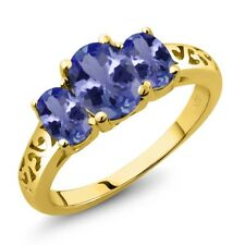 2.06 Ct Oval Blue Tanzanite 18K Yellow Gold Plated Silver Ring