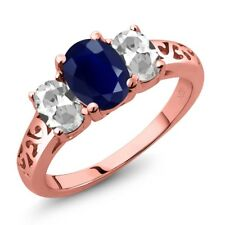 2.79 Ct Oval Blue Sapphire White Topaz 18K Rose Gold Plated Silver Ring