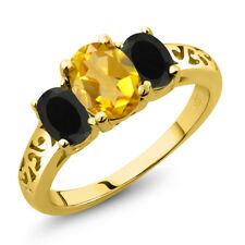 1.88 Ct Oval Yellow Citrine Black Onyx 18K Yellow Gold Plated Silver Ring