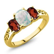 2.05 Ct Oval Cabochon White Simulated Opal Red Garnet 18K Yellow Gold Ring