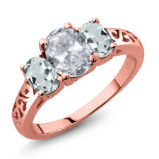 2.16 Ct Oval White Topaz Sky Blue Aquamarine 18K Rose Gold Plated Silver Ring